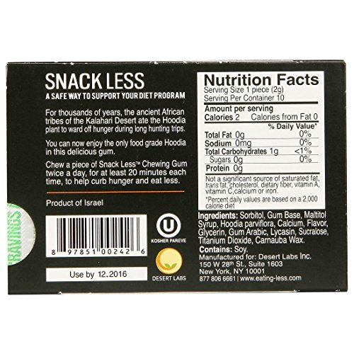 Snack Less Weight Loss Gum - Nature's Hunger Buster! Cinnamon Flavor - Box of 12