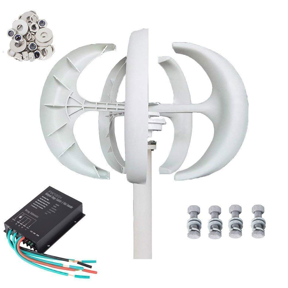 Seeutek 12V Turbine Wind Generator Kit 5 Leaves Vertical Axis with Controller, White