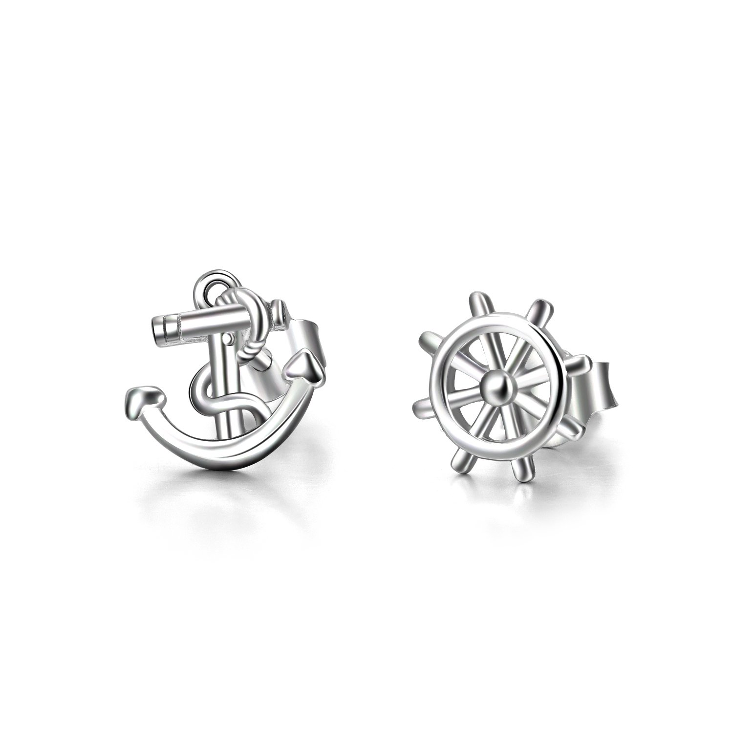 LUHE Anchor Stud Earrings 925 Sterling Silver Ship Anchor and Rudder Earrings Studs