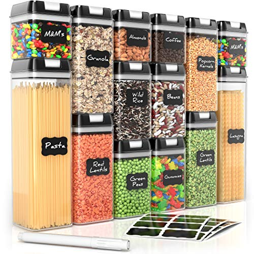 Airtight Food Storage Containers for Pantry Organization and Storage by Simply Gourmet. 14-Piece Set + 32 FREE Chalkboard Labels & Marker. Air Tight Containers for Food - Perfect for Kitchen Storage (Chefs Best Gourmet Foods)