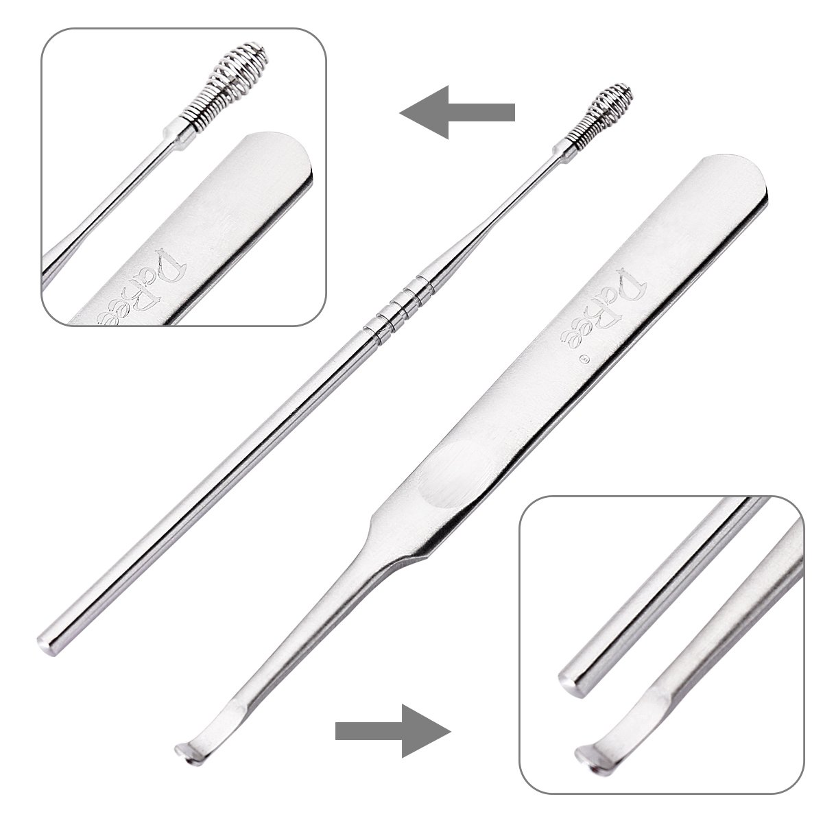 Ear Wax Pick Remover Curette for Build Up Impacted Earwax, Medical Grade Ear hygiene Care Kits, Sturdy & Durable, Surgical Stainless Steel