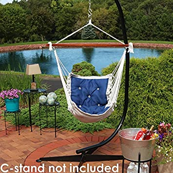 Sunnydaze Tufted Victorian Hammock Chair Swing, Indoor or Outdoor Hanging Seat, Sturdy 300 Pound Weight Capacity, Navy Blue