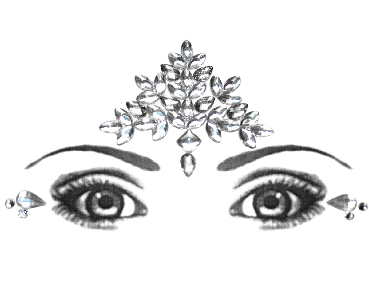 Eye Corners & Face Jewels crystal Bindi Rhinestone Forehead Decorations Jewels BridalBindis white-Forehead-Corners