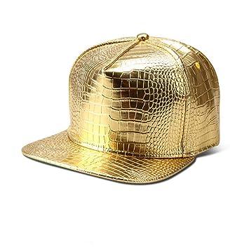 WYKDA PU Cuero Gorras de béisbol Diamante Oro Rhinestone ...