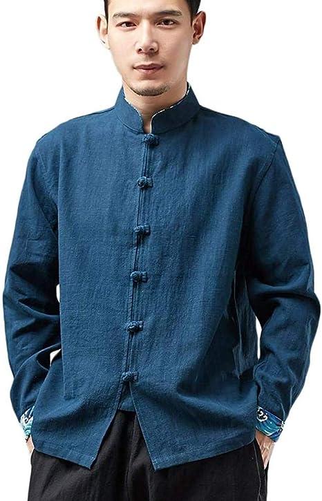 Camisas De Estilo Tradicional Chino para Hombres Tang Suit Kung Fu Jacket Casual Shirt,D-XL: Amazon.es: Hogar