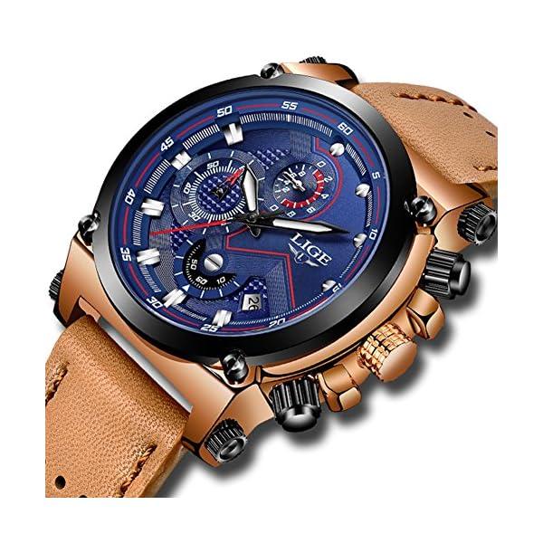 Mens Watches Fashion Leather Analog Quartz Watch Men Sport Waterproof Chronograph Luxury Brand LIGE Casual Blue Date Watch