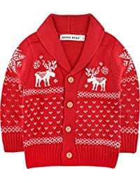 ZOEREA Toddler Unisex Baby Button-up Cotton Coat Deer Christmas Cardigan Sweater
