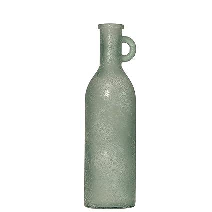 DonRegaloWeb - Botella con asa de vidrio reciclado en blanco verdoso envejecido 14x50cm
