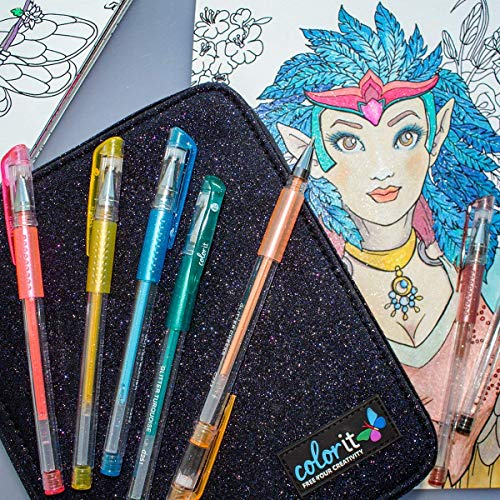 ColorIt 48 Glitter Gel Pens For Adult Coloring Books - New Glitter Colors Metallics Neons, Gel Pens with Case and 48 Matching Ink Refills For 96 Total Glitter Pack by ColorIt (Image #5)