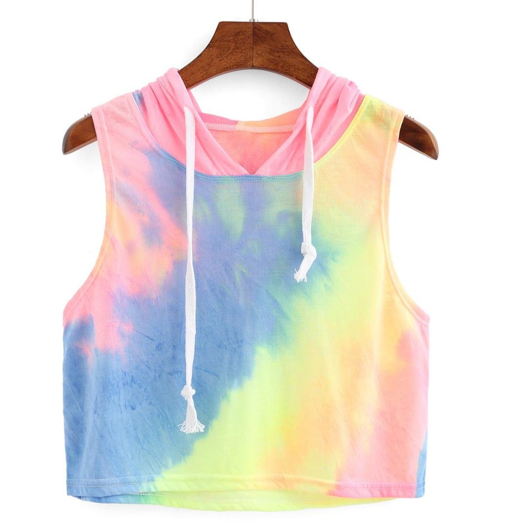 41de3df2fa1 Crop Top Hoodie, Teens Women's Summer Sleeveless Tie-Dye Print Hooded Tank  Top Vest Shirt at Amazon Women's Clothing store: