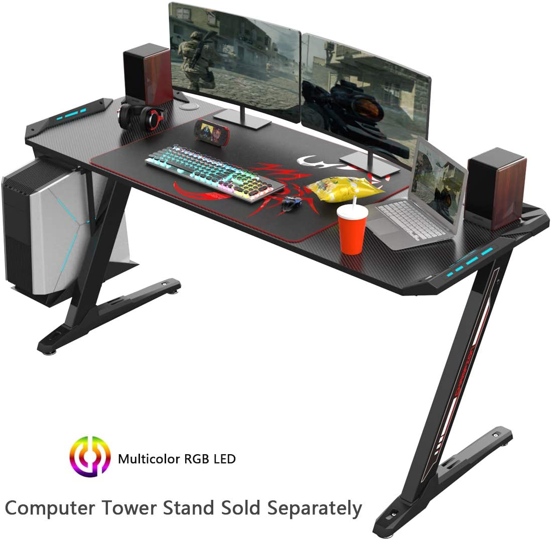 EUREKA ERGONOMIC Z60 Gaming Desk 60 Z Shaped Large PC Computer Gaming Desks Tables with RGB LED Lights Controller Stand and Mouse Pad for E-Sport Racing Gamer Pro Home Office Gift