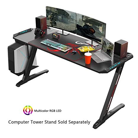 EUREKA ERGONOMIC Z60 Gaming Desk 60 Z Shaped Large PC Computer Gaming Desks Tables with RGB LED Lights Controller Stand and Mouse Pad for E-Sport ...