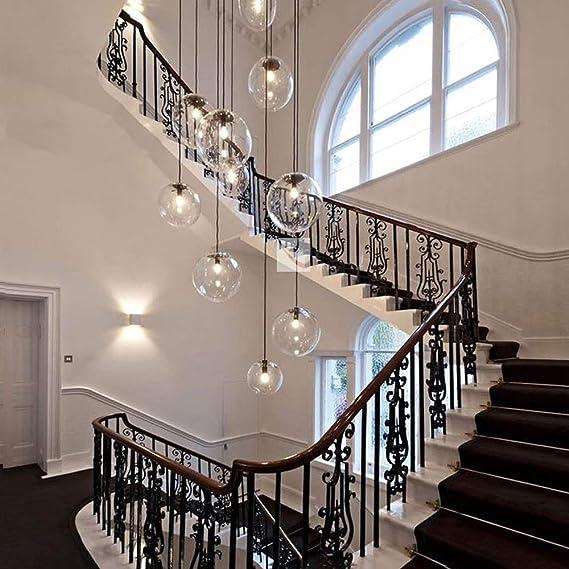 Bolas de vidrio múltiples Escalera Lámpara de araña Lámpara colgante larga Edificio dúplex Lámpara grande Sala de estar Villa Hueco Lámpara de escalera minimalista moderna (Tamaño: 10 bolas): Amazon.es: Iluminación