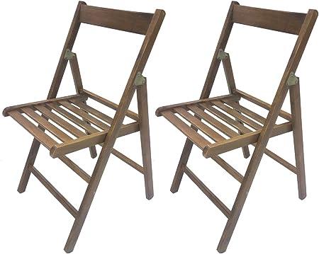 SF SAVINO FILIPPO 2 sedie Pieghevole Sedia birreria in Legno Noce richiudibile per Campeggio casa