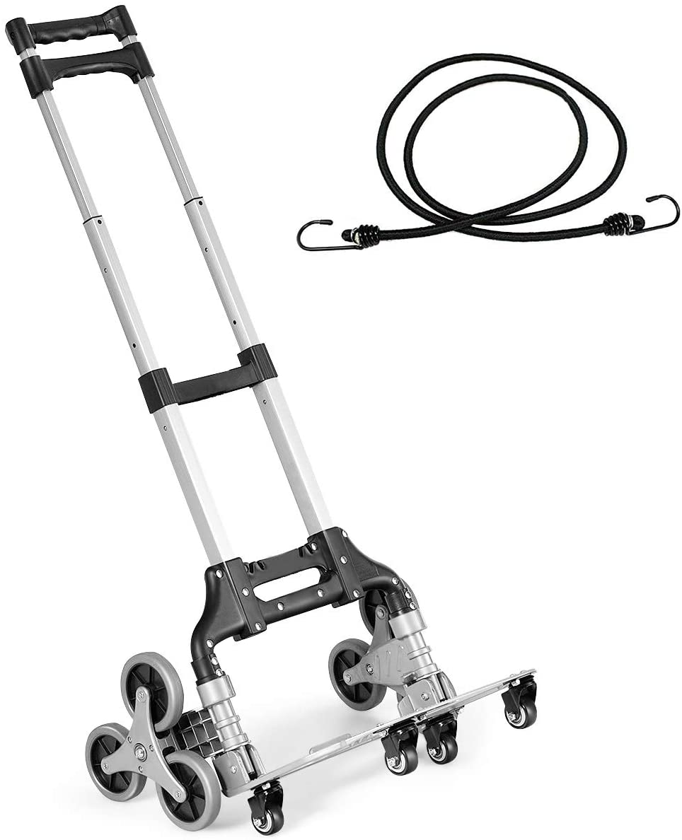 Goplus Stair Climbing Cart, All Terrain Stair Climbing Hand Truck with Bungee Cord, Portable Folding Trolley for Upstairs Cargo Transportation, Heavy Duty with 6 Wheels, Adjustable Telescoping Handle