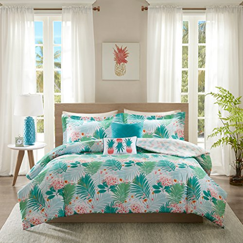 Intelligent Design Tropicana Comforter Set Twin/Twin XL Size - Aqua, Tropical Floral Pineapple Print - 4 Piece Bed Sets - Ultra Soft Microfiber Teen Bedding for Girls Bedroom