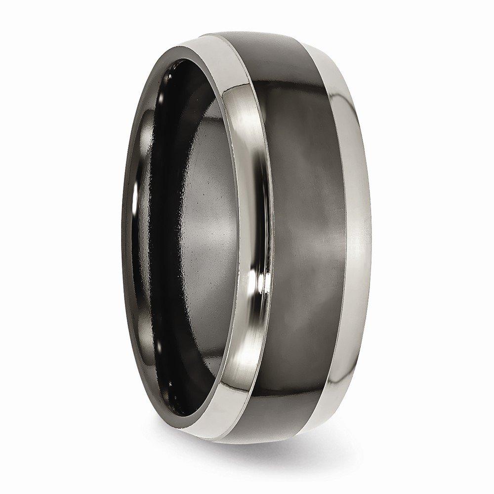 Bridal Wedding Bands Fancy Bands Titanium Black Ti Two Toned Edge 8mm Polished Band Size 11.5