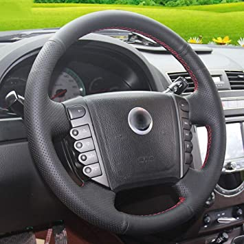 Universal Car Truck Black Leather Steering Wheel Hand-Stitch Cover Shell On Wrap