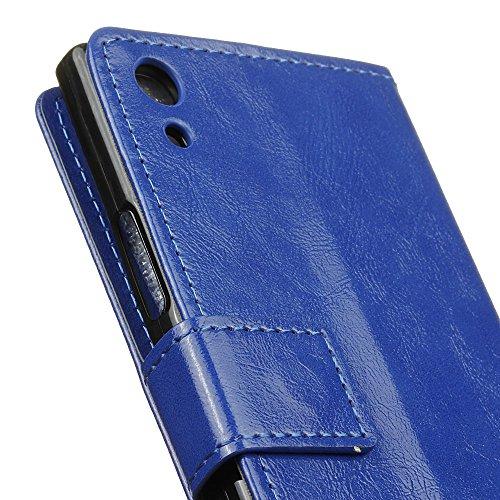 Lusee® PU Caso de cuero sintético Funda para Sony Xperia XA1 Ultra G3221 G3223 6.0 Pulgada Cubierta con funda de silicona botón caballo Loco patrón negro caballo Loco patrón azul