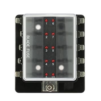 kkmoon 10 way blade fuse box holder with led warning light kit for rh amazon co uk marine fuse box cover marine fuse box