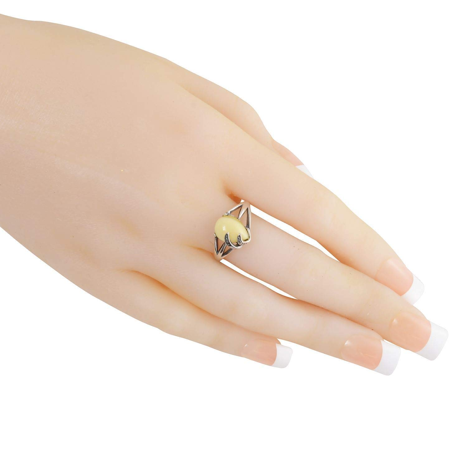 HolidayGiftShops Sterling Silver and Baltic Butterscotch Amber Ring Stacie