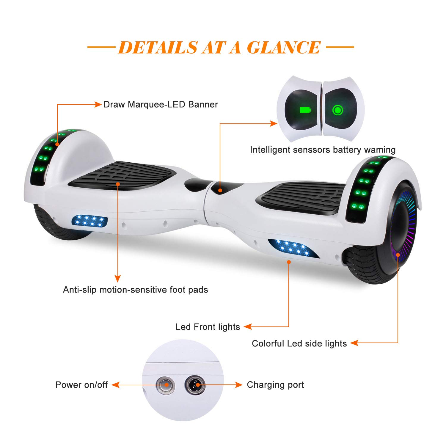 """SWEETBUY Hoverboard UL 2272 Certified 6.5"""" Two-Wheel Bluetooth Self Balancing Electric Scooter with LED Light Flash Lights Wheels White(Free Carry Bag) by SWEETBUY (Image #2)"""