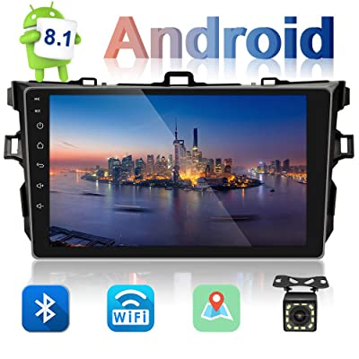 UNITOPSCI Car Stereo Android 8.1 Navigation Stereo for Toyota Corolla 2006-2012 Double Din Car Radio 9'' HD Touch Screen 1G 16G GPS Navigation WiFi Bluetooth FM Radio USB Mirror Link + Backup Camera: GPS & Navigation