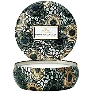 Voluspa Decorative 3 Wick Candle inTin/French Cade & Lavender, 12oz Tin