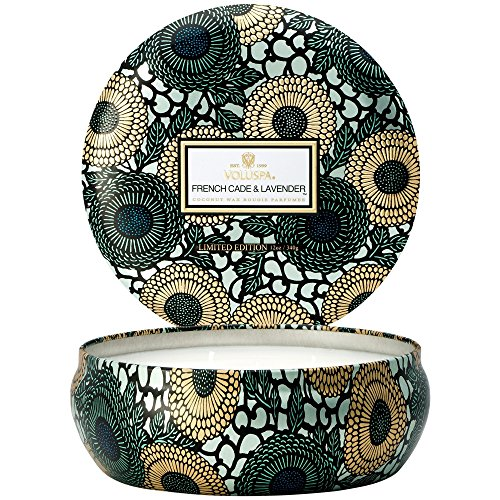 Voluspa French Cade Lavender 3 Wick Tin Candle, 12 ounces