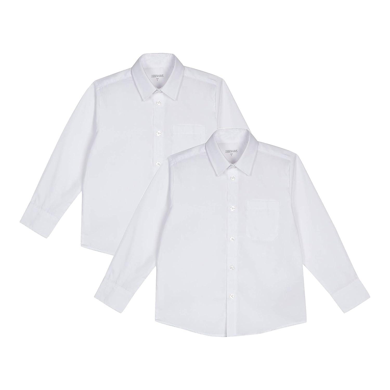 Debenhams Kids Pack of Two Boys' White Generous Fit Long Sleeved Shirts
