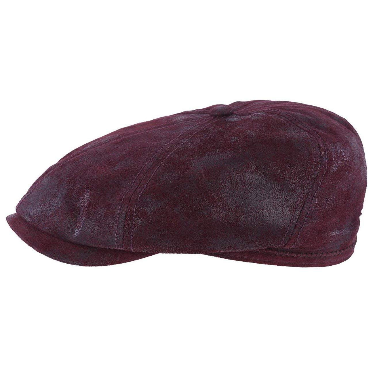 dbdb7e2a3bc2d Pigskin Leather Brooklin by Stetson Cotton Flat CAP - Red - Large   Amazon.co.uk  Clothing