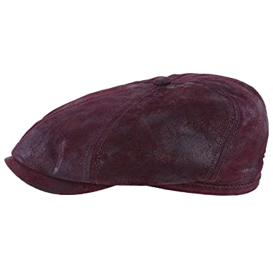 d552e85e380 Pigskin Leather Brooklin by Stetson Cotton Flat CAP - Red - Large ...