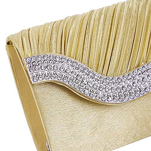 Evening Chain Shoulder Handbag Heelinna with Golden Wedding Party Bag Satin 6H1n5qZ