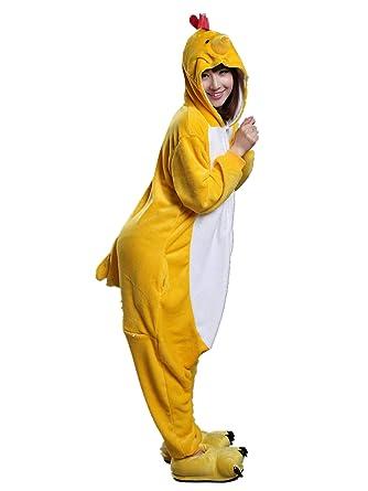 95d35bf6f77d Amazon.com  Adult Chicken Costume Animal One Piece Kigurumi Pajamas   Clothing