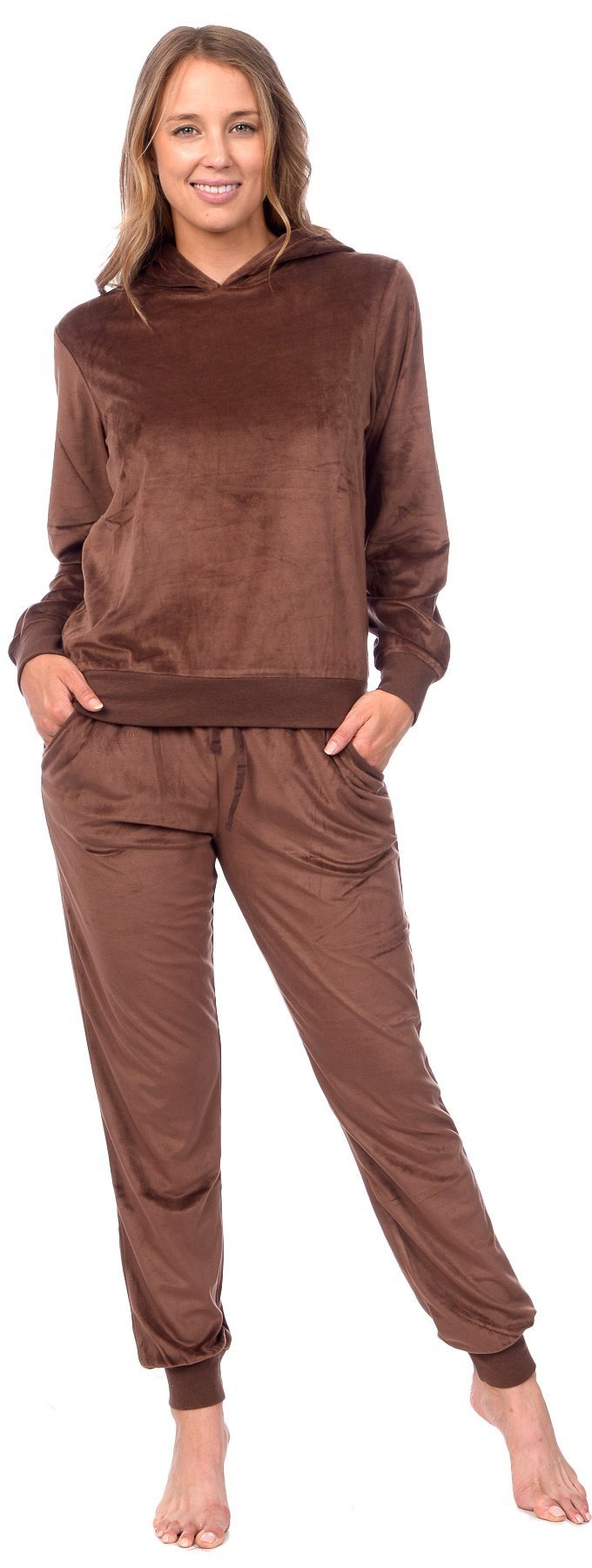 Pink Lady Womens Velour Pullover Hoodie and Bottoms Sporty Tracksuit (Cocoa Brown, XL)