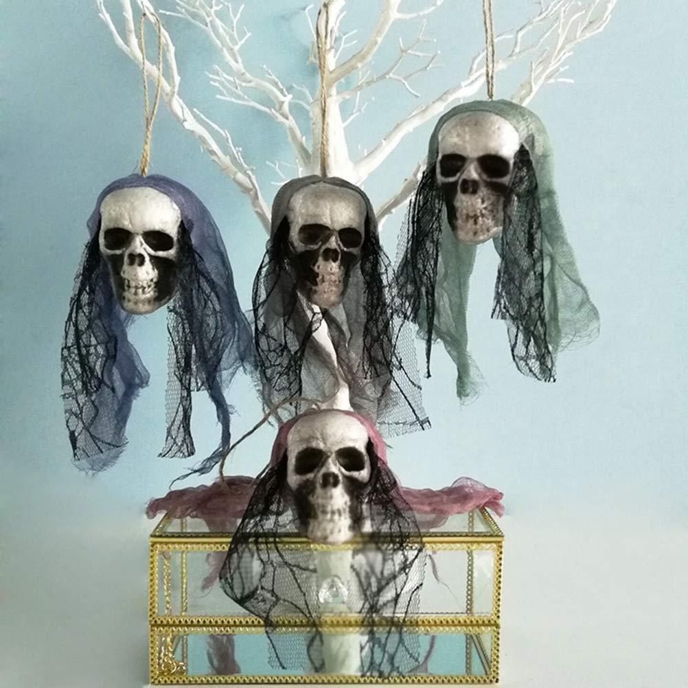 BERTERI DIY 人工フォーム スカル ハロウィーン 装飾 ボーンヘッド 吊り下げ ホームデコレーション フェスティバル パーティー用品 4個 B07GNFDW1Y