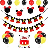 Mickey Mouse Birthday Decorations, Black Red Mickey Paper Honeycomb Balls, Happy Birthday Banner, Cake Topper for Mickey…