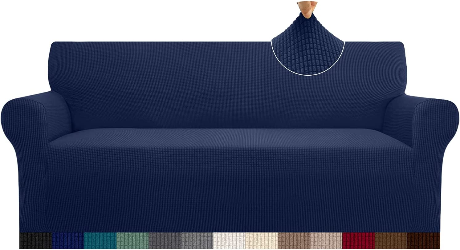 Cherrypark High Stretch Sofa Cover for 3 Cushion Couch 1 Piece Thickened Couch Cover for Dogs Anti-Slip Furniture Protector with Elastic Band(Large,Navy Blue)