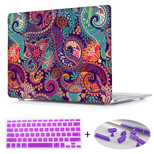 For Macbook Air 13.3 case, Print Crystal Hard Shell Cover case with Purple Keyboard and Dust plug For Macbook Air 13 Inch [ Models:A1466/A1369],Paisley