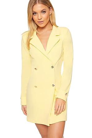 24c31462ce5a WearAll - Damen Doppelt Breasted Lang Hülle Kurz Schaltfläche Kragen Damen  Mini Blazer Kleid - Gelb - 42  Amazon.de  Bekleidung