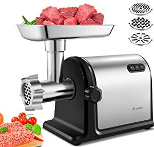 Aobosi Electric Meat Grinder 【2000W Max 】Heavy Duty Meat Mincer Sausage Stuffer with 3 Stainless steel Plates, 3 Sausage Stuffer Kits & Kubbe Attachments