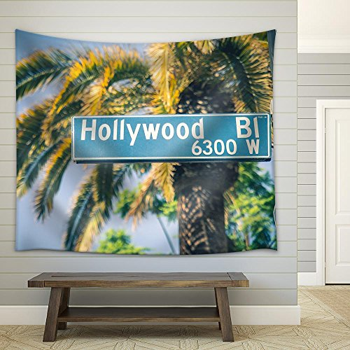 wall26 - Hollywood Boulevard Street Sign - Fabric Wall Tapestry Home Decor - 51x60 inches