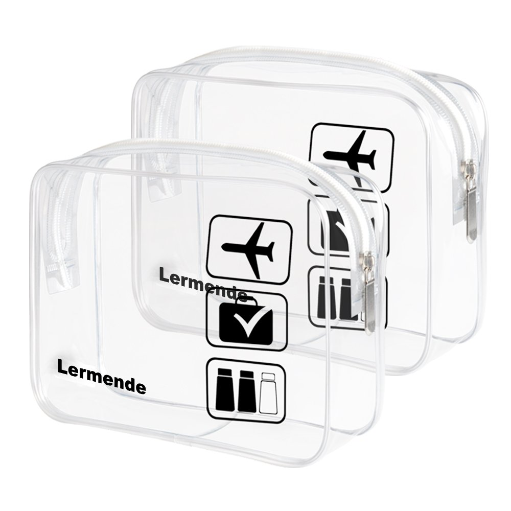 2pcs//pack Lermende Clear Toiletry Bag TSA Approved Travel Carry On Airport Airline Compliant Bag Quart Sized 3-1-1 Kit Luggage Pouch