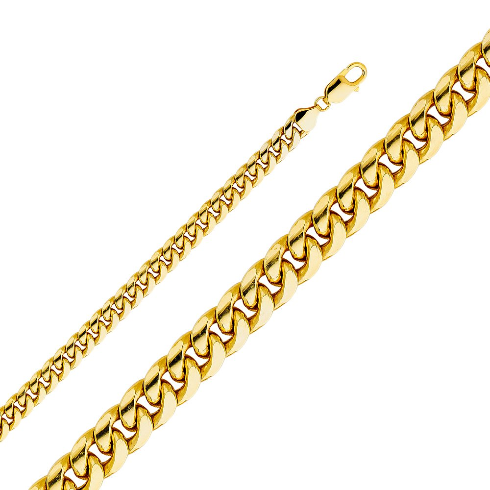 Wellingsale 14k Yellow Gold 7mm Polished HOLLOW Miami Cuban Concaved Curb Chain Bracelet - Chain Bracelet - 8.5''