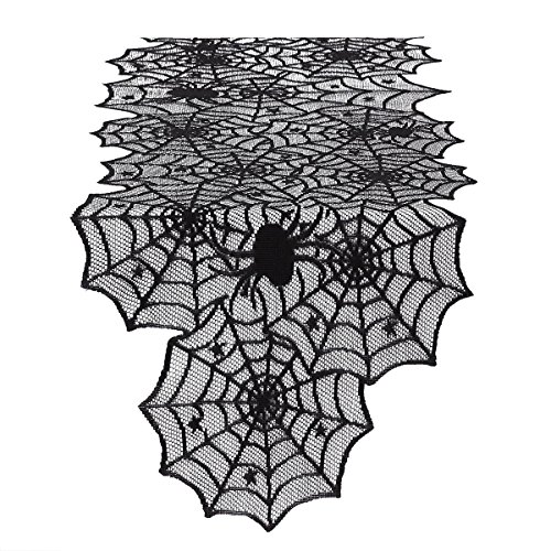 Halloween Spider Web Table Runner - Black Lace Cobweb Tablecloth Topper Festive Party Supplies for Halloween Party, Dinner & Spooky Meals, Wedding Table Décor, 18 by 72 Inch