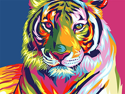 Paint by Number Kits for Adults Kids, Komking DIY Paint by Numbers for Beginner on Canvas Painting, Colorful Tiger 16x20inch