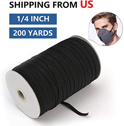 """200yds//Roll 6mm Black Flat Elastic Cords Braided Sewing Band Ropes Crafting 1//4/"""""""
