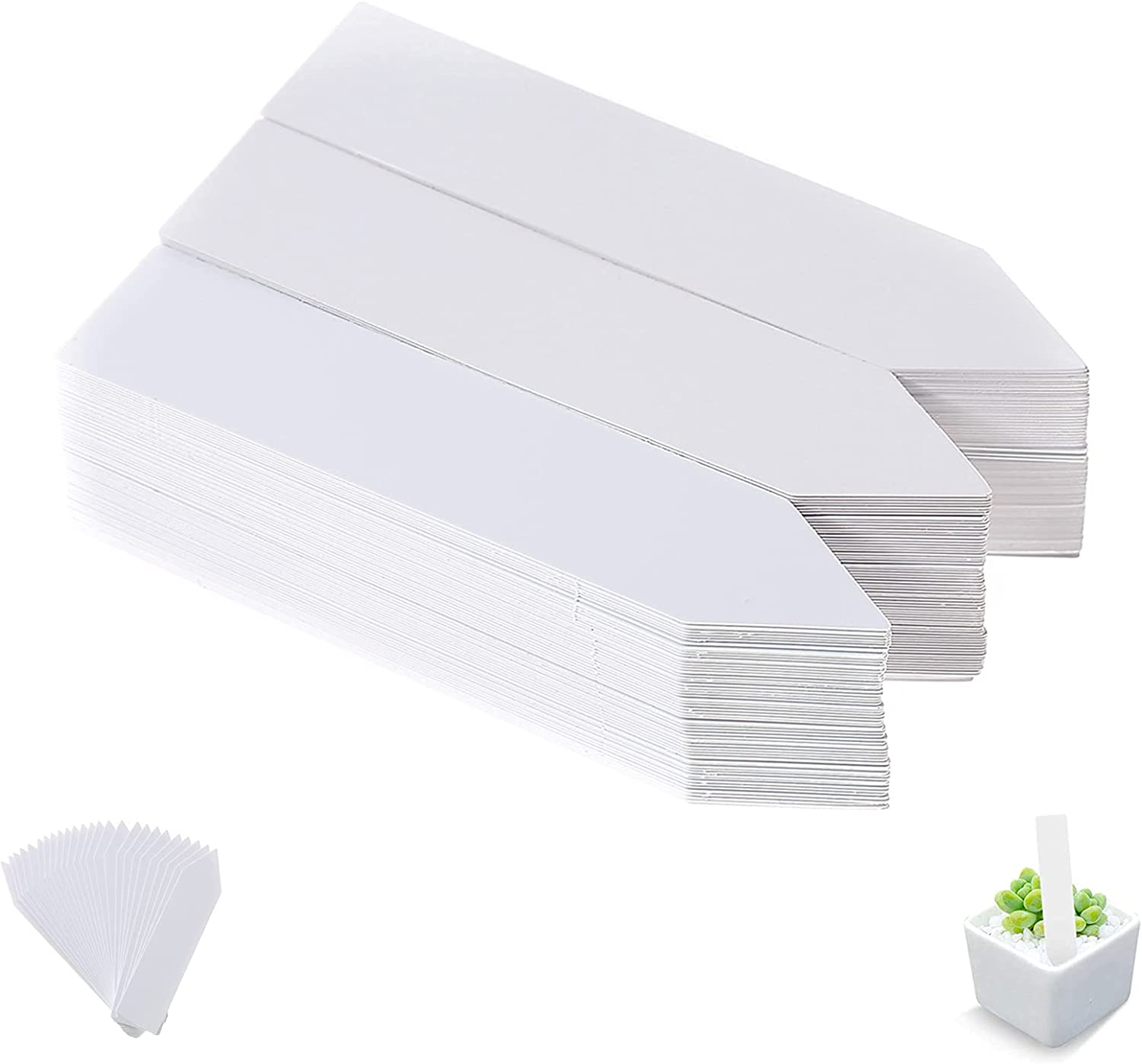 200 Pcs Plastic Plant Label Stakes for Seedling Nursery Garden Labels Pot Garden Marker Plant Tags, Outdoor Waterproof Garden Sign Tags for Flower, Vegetables and Herb, 4 Inch, White