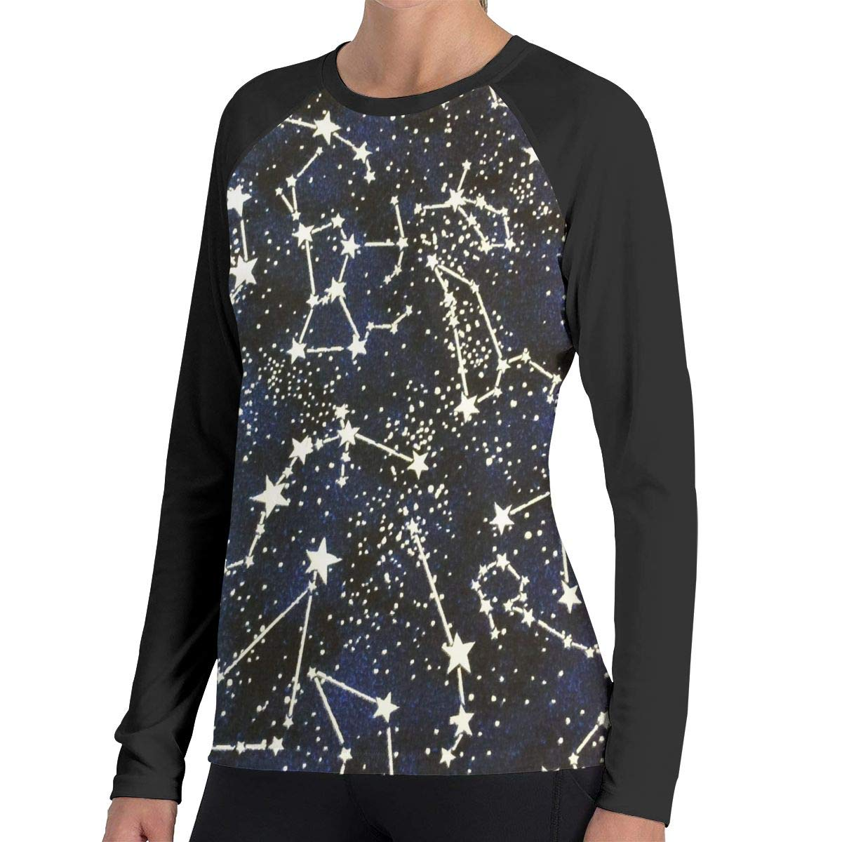 bf048b74e66a Amazon.com  Glow Dark Constellations Midnight Womens Casual 3D Print O-Neck Long  Sleeve Shirts 100% Cotton Basic T-Shirt Tees  Clothing