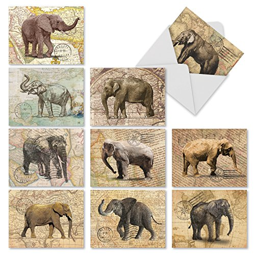 M9636TYG Trunk Mail: 10 Assorted Thank You Note Cards Featuring Images Of Elephants On An Antique Map Background, w/White Envelopes. (Map Note Card)